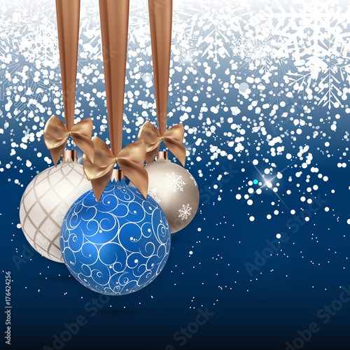 Happy New Year and Merry Christmas Winter Background with Ball Vector Illustration