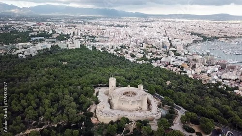 Sticker Aerial Helicopter View Mallorca Spain Palma Castle