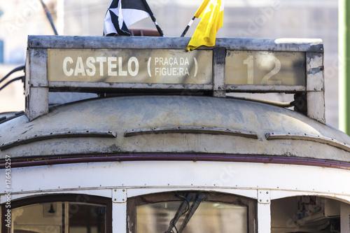 close up of historic tram lisbon portugal