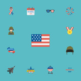 Flat Icons Medallion, Military Man, Ribbon And Other Vector Elements. Set Of Day Flat Icons Symbols Also Includes Day, Calendar, Awareness Objects. - 176436253