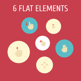 Flat Icons Press, Enlarge, Finger And Other Vector Elements. Set Of Gesticulation Flat Icons Symbols Also Includes Touchscreen, Drag, Press Objects. - 176438818