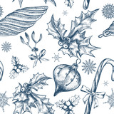 Seamless decorative pattern with Christmas and New Year's attributes. Festive background with Hand drawn elements. Good for design wrapping paper. - 176440875
