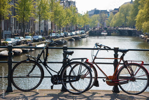 Bikes on the bridge in Amsterdam, Netherlands. Poster