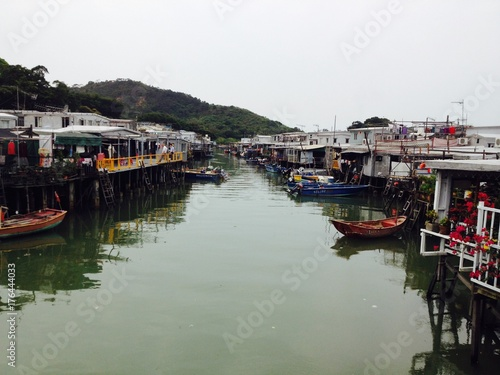 Fishing Village in Hong Kong Poster