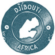 Постер, плакат: Djibouti map vintage stamp Retro style handmade label Djibouti badge or element for travel souvenirs Rubber stamp with country map silhouette Vector illustration