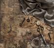 Antique items pocket watch scissors keys Nostalgic still life