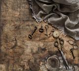 Antique items pocket watch scissors keys Nostalgic still life - 176447259