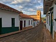 Historical colonial street and cathedral in Barichara, Colombia, South America - 176467075