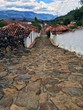 Historical colonial street in the village of Guane, Colombia, South America  - 176467407