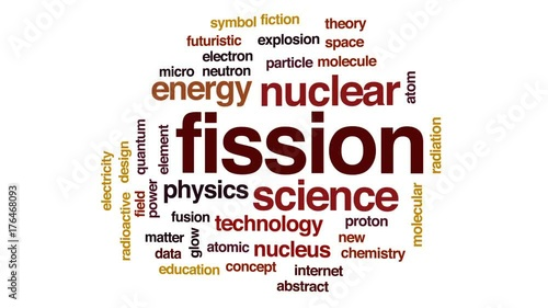 Fission animated word cloud, text design animation.