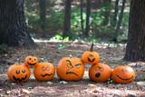 Halloween pumpkins in the woods - 176469858