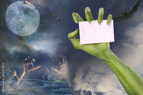 3D Illustration of zombie hand showing sign banner Halloween background