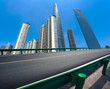 Quadro Empty road surface with shanghai landmark buildings backgrounds