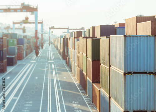 colorful containers at port,china. Poster