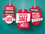 Huge Christmas sale vector set of red sale tags hanging with 50% off text and with origami paper style for holiday discount promotion. Vector illustration.  - 176476870