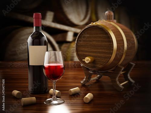 Wine bottle, corks, glasses and barrel. 3D illustration
