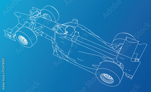 Fotobehang F1 Model speed car. Abstract drawing. Wire-frame. EPS10 format. Vector created of 3d