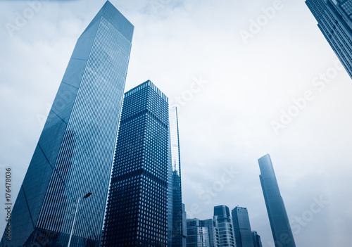 directly below of modern financial skyscrapers in central Hong Kong,blue toned,china Canvas Print