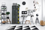 Black and white workspace interior - 176480250