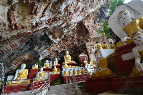 Aluminium Boeddha Buddha Statuen in der Kawgun Höhle in der Nähe von Hpa An, Myanmar