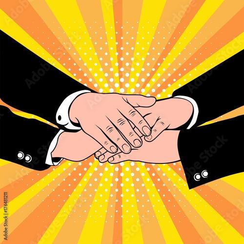 Poster Pop Art Pop art of Group Handshake Business People.