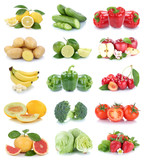 Obst und Gemüse Früchte Apfel Erdbeeren Tomaten Farben Collage Freisteller freigestellt isoliert - 176481816