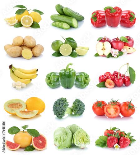 Obst und Gemüse Früchte Apfel Erdbeeren Tomaten Farben Collage Freisteller freigestellt isoliert