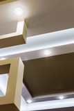 suspended ceiling and drywall construction in the decoration of the apartment or house. focus on coal structures - 176486490