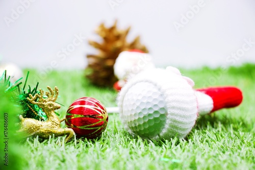 Foto op Canvas Gras Christmas decoration for golfer