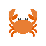 cute crab cartoon icon, flat design vector