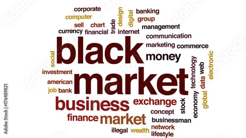 Black market animated word cloud, text design animation.