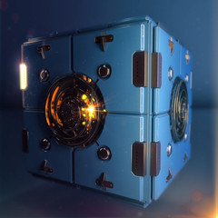 abstract techno hypercube object. blue metal box with shiny polished detail clockwork in center of each face. dieselpunk 3d render