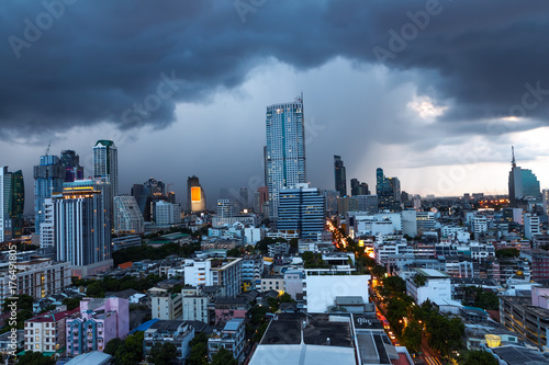 Aluminium Thailand Aerial view of Bangkok downtown under the storm and cloudy sky
