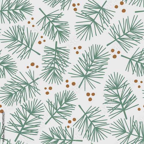 fototapeta na ścianę Fir tree branch seamless pattern, winter background