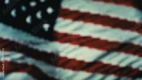 Handshake. Multiple takes. USA flag on LED background.