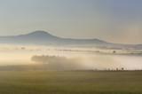 MISTY MORNING  over farmlands and fields, Underberg, Kwazulu Natal,  - 176494893