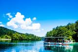 Boat reflexion in the Plitvice Lakes in Croatia - 176495227
