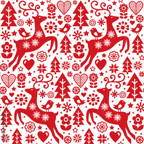 Materiał do szycia Christmas folk red seamless vector pattern, Scandinavian folk art, reindeer, birds and flowers decoration, wallpaper