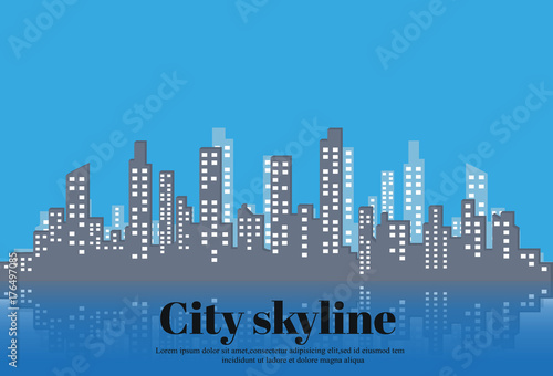 The silhouette of the city in a flat style. Modern urban landscape.vector illustration. - 176497085