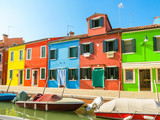 Burano Island, colorful houses and boats on channels of island. Venice, Italy - 176498484