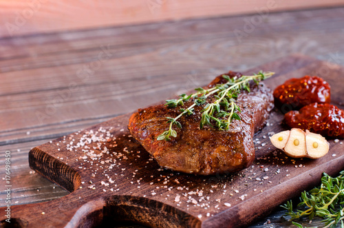 Aluminium Steakhouse Steak from beef closeup with rosemary