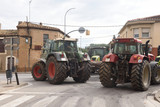 road cut by the general strike in Catalonia on October 3, 2017,.in the village of Bascara in Girona