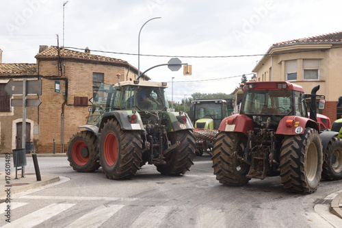 Fotobehang Barcelona road cut by the general strike in Catalonia on October 3, 2017,.in the village of Bascara in Girona