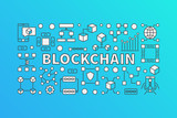 Creative banner made with block-chain line icons - 176504284