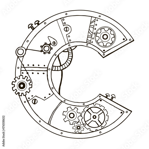 Mechanical letter C engraving vector illustration