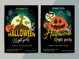 Happy Halloween party poster template design. All hallow eve flyer in scary cartoon style. All saint holiday club event layout. Vector illustration - 176509279