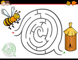 cartoon maze activity with bee and hive - 176510434