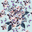Beautiful pattern illustration with purple flowers in vintage style