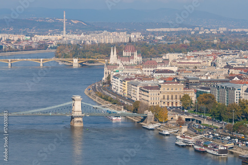 Fotobehang Boedapest View of Budapest from Gellert Hill. Danube River which separates Buda and Pest, Budapest, Hungary