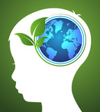 concept of ecology with earth and leaf in head kids.vector